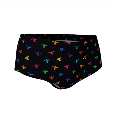 """Don't Have a Cow, Have Tofu!"" (multi-color minis print) Swim & Workout Mini Shorts"