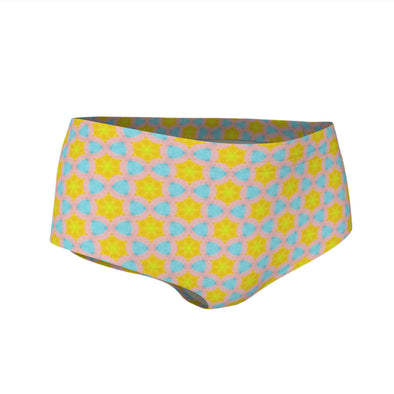 """Happy Pig"" (kaleidoscope pattern) Swim & Workout Mini Shorts"