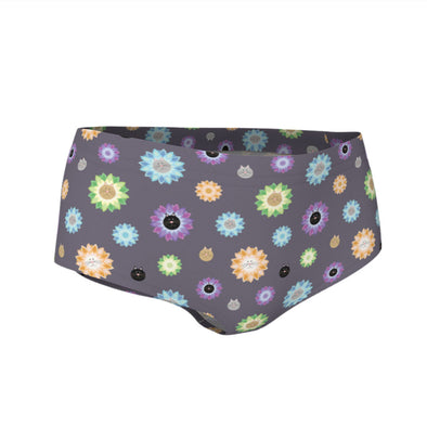 """Purrrfect Flowers"" Cat Swim & Workout Mini Shorts"