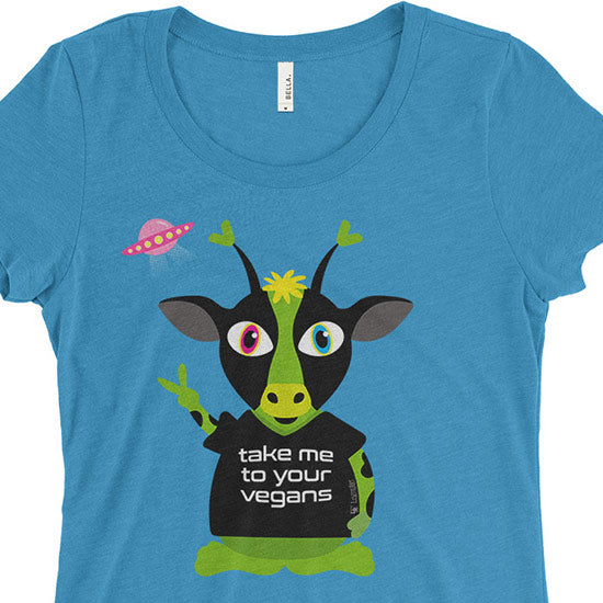 """Take Me To Your Vegans"" Alien Cow Junior Fitted T-Shirt"