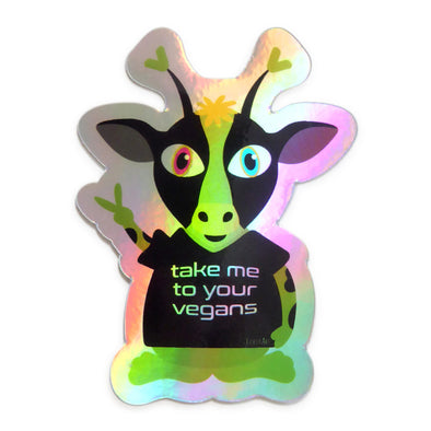 """Take Me To Your Vegans"" Alien Cow Holographic Vinyl Sticker"