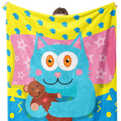 """I Love My Teddy"" Whimsical Cat Throw Blanket"