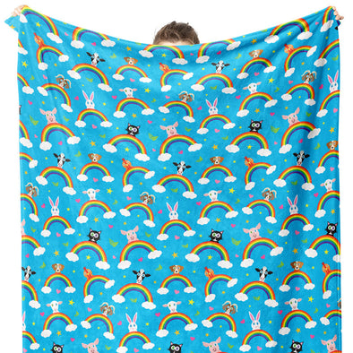 """Rainbow Friends"" Happy Animals Throw Blanket"