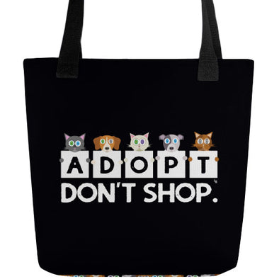 """Adopt, Don't Shop."" Cat and Dog Full Color Double-Sided Tote Bag"