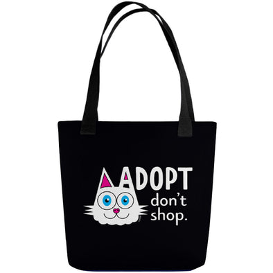 """Adopt, Don't Shop."" (cat ear) Full Color Double-Sided Tote Bag"