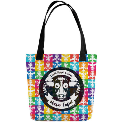 """Don't Have a Cow, Have Tofu!"" (multi-color checker print) Full Color Double-Sided Vegan Tote Bag"