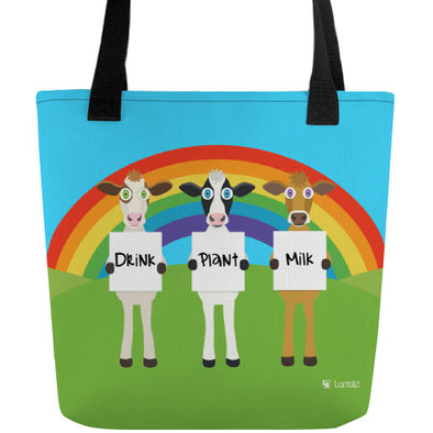 """Drink Plant Milk"" Full Color Double-Sided Vegan Cow Tote Bag"
