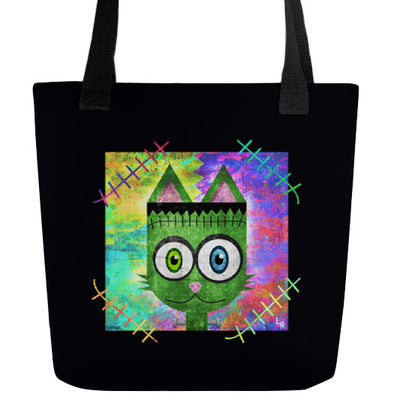 """Frankenkitty"" Full Color Double-Sided Monster Cat Tote Bag"