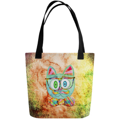 """Intellecat"" Full Color Hipster Cat Double-Sided Tote Bag"