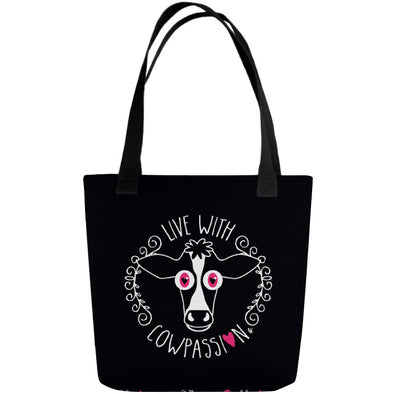 """Live with Cowpassion"" Full Color Double-Sided Vegan Tote Bag"