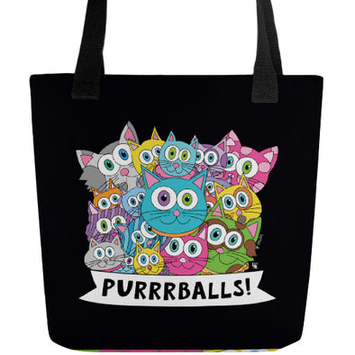 """Purrrballs!"" Full Color Double-Sided Cat Tote Bag"