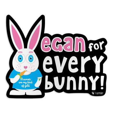 """Vegan for Everybunny!"" Car Magnet, Bunny Rabbit Fridge Magnet"