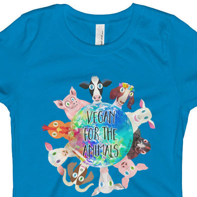 """Vegan for the Animals"" Girls Fitted T-Shirt"