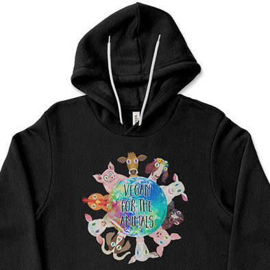 """Vegan for the Animals"" Unisex Lightweight Fleece Hoodie Sweatshirt"
