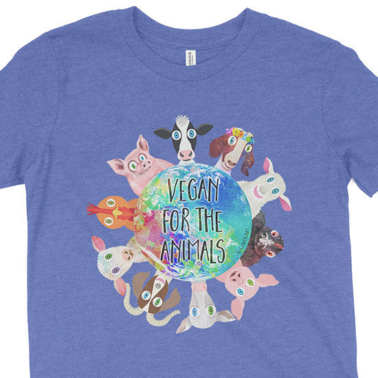 """Vegan for the Animals"" Kids Youth T-Shirt"