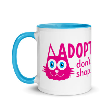 """Adopt, Don't Shop."" (cat ear) Coffee Mug with Color Accents"