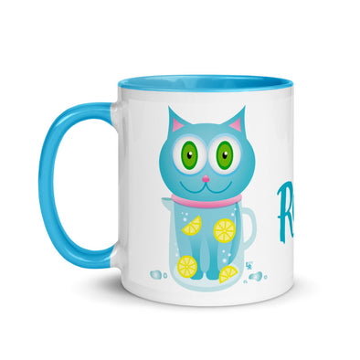 """Feeling Refreshed"" Cat Coffee Mug with Color Accents"