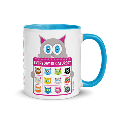 """Everyday is Caturday"" Cat Coffee Mug with Color Accents"