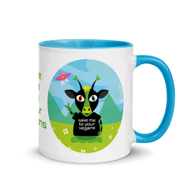 """Take Me To Your Vegans"" Alien Coffee Mug with Color Accents"