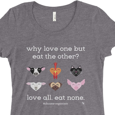 """Why Love One but Eat the Other?"" Junior Fitted Vegan T-Shirt"
