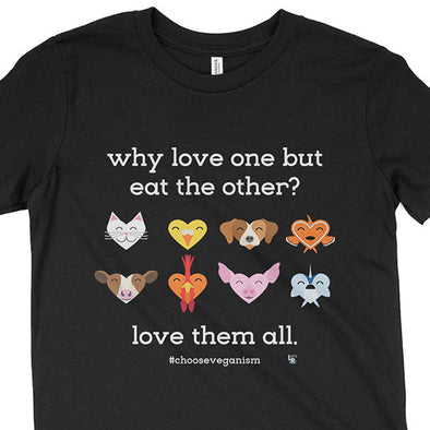 """Why Love One but Eat the Other?"" Vegan Kids Youth T-Shirt"