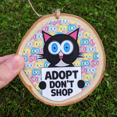 """Adopt, Don't Shop"" Whimsical Wood Cat Ornaments - Funky Cats, Kitty Holiday Ornaments"