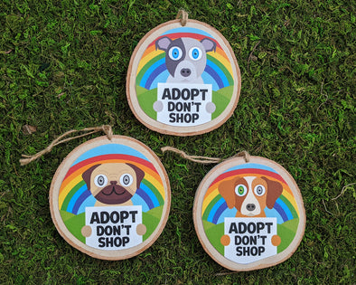 """Adopt, Don't Shop"" Whimsical Wood Dog Ornaments - Funky Dogs Holiday Ornaments"