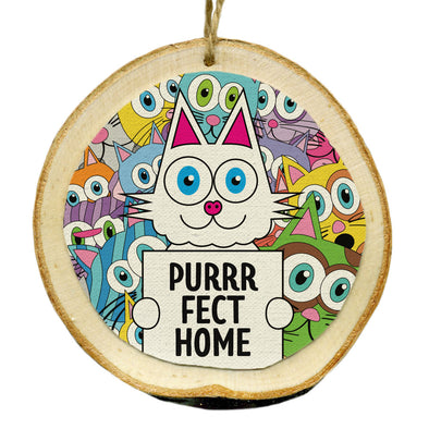 """Purrrfect Home"" Whimsical Wood Cat Ornaments - Funky Cats, Kitty Holiday Ornaments"