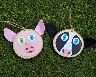 Cow and Pig - Whimsical Wood Ornament - Vegan Holiday Ornaments