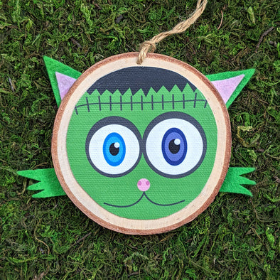 """Frankenkitty"" Funky Cat Monster Wood Ornament - Frankenstein Holiday Ornaments"