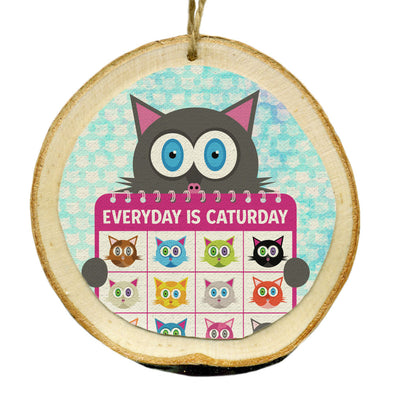 """Everyday is Caturday"" Whimsical Wood Cat Ornaments - Funky Cats, Kitty Holiday Ornaments"