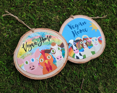 """Vegan Home""  Whimsical Animal Friends Wood Ornaments, Cows, Pigs, Chickens, Goats, Holiday Ornaments"