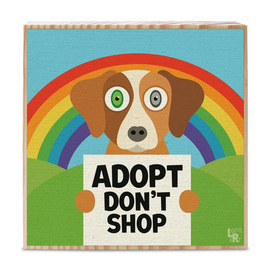 """Adopt Don't Shop"" Whimsical Dog Art on Wood Block - Funky Dog Sign"