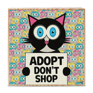 """Adopt Don't Shop"" Whimsical Black Cat Art on Wood Block - Funky Cat Sign"