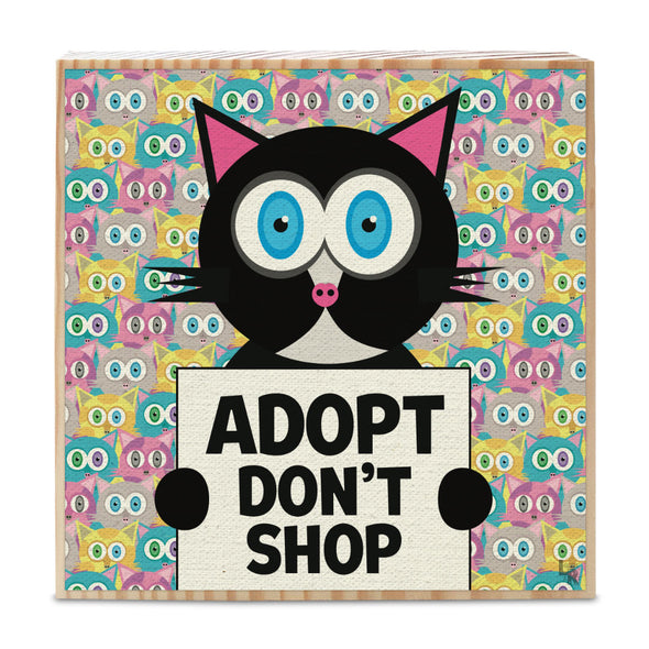 """Adopt, Don't Shop"" Whimsical Black Cat Art on Wood Block - Funky Cat Sign"