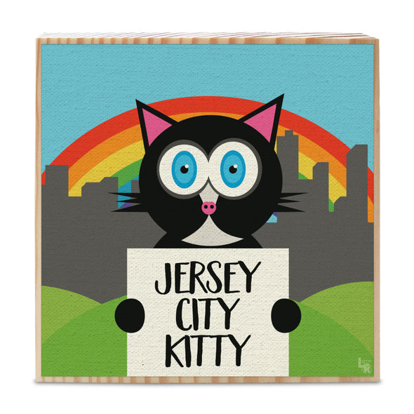 """Jersey City Kitty"" Whimsical Black Cat Art on Wood Block - Funky Cat Sign"