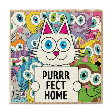 """Purrrfect Home"" Whimsical Cats Art on Wood Block - Funky Cat Sign"