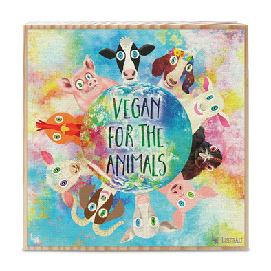 """Vegan for the Animals"" Whimsical Animal Art on Wood Block - Vegan Sign"