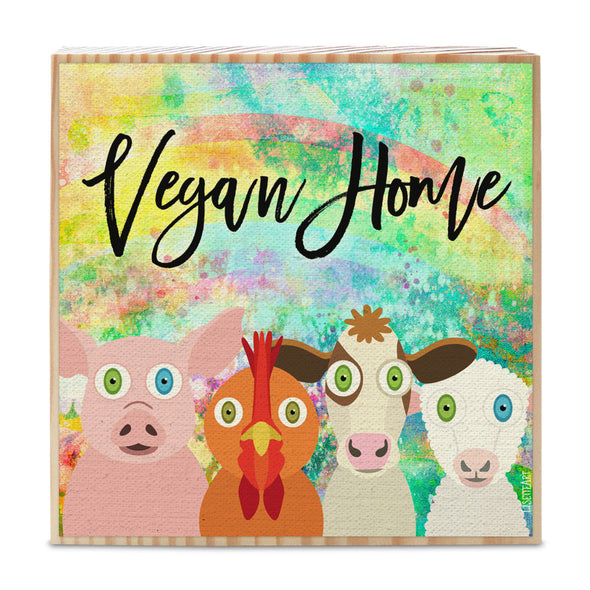 """Vegan Home"" Whimsical Animal Friends Art on Wood Block - Funky Vegan Sign"