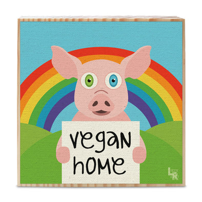 """Vegan Home"" Happy Animals Art on Wood Block - Funky Vegan Sign"