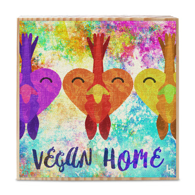 """Vegan Home"" Rooster Love Art on Wood Block - Heart Chicken Vegan Sign"