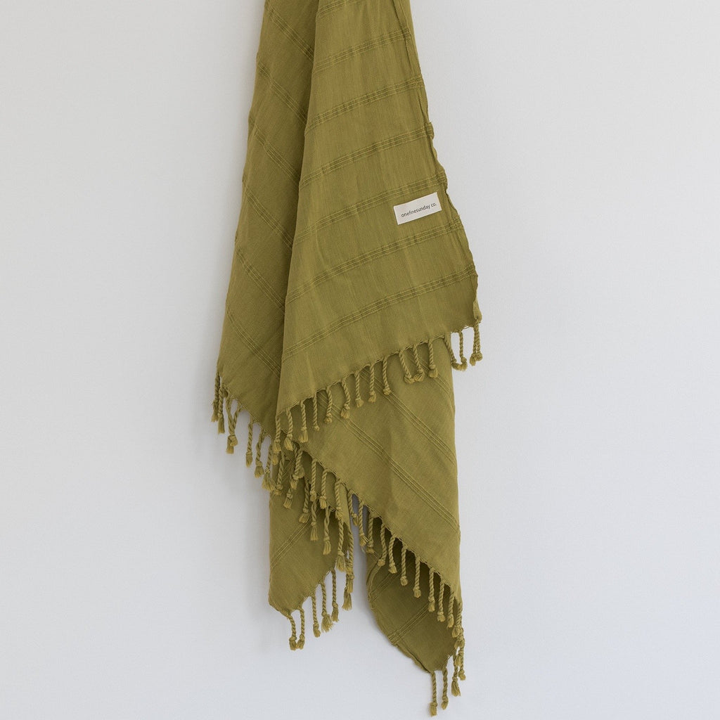 Luxe Stonewash Turkish Towel/Throw - Mustard green-onefinesunday co