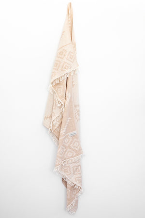 Aztec Turkish Towel/Throw - Beige and White-onefinesunday co