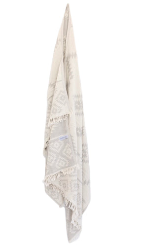 Aztec Turkish Towel/Throw - Light Grey and White-onefinesunday co
