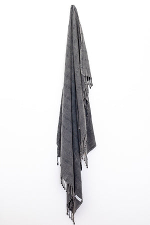 Luxe Stonewash Turkish Towel/Throw - Charcoal Black-onefinesunday co