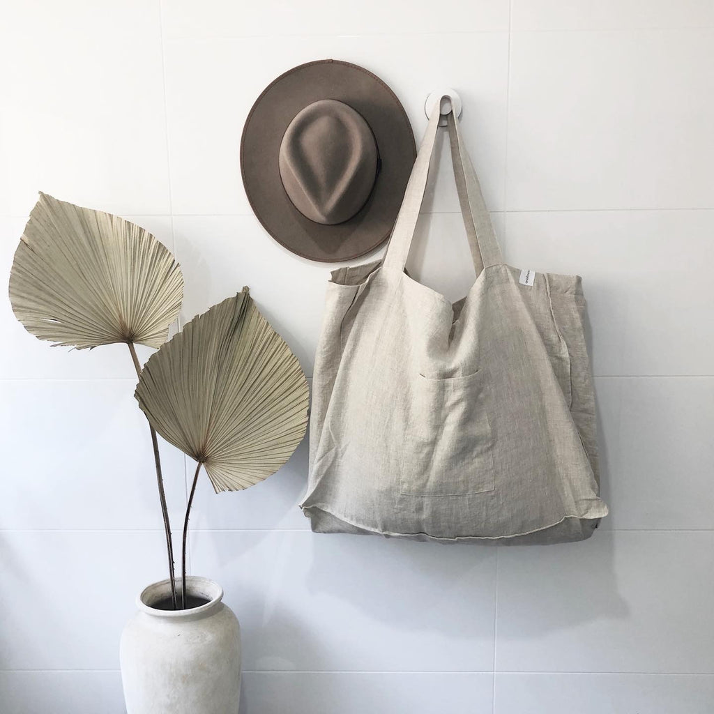 The Weekender Linen Tote - OATMEAL-onefinesunday co