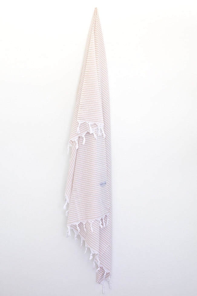 Classic Turkish Towel - Thin Striped Beige-onefinesunday co