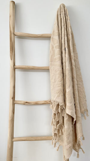 Sunday retro inspired Turkish towel - BEIGE-onefinesunday co