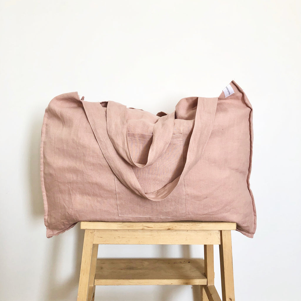 The Weekender Linen Tote - DUSTY PINK-onefinesunday co