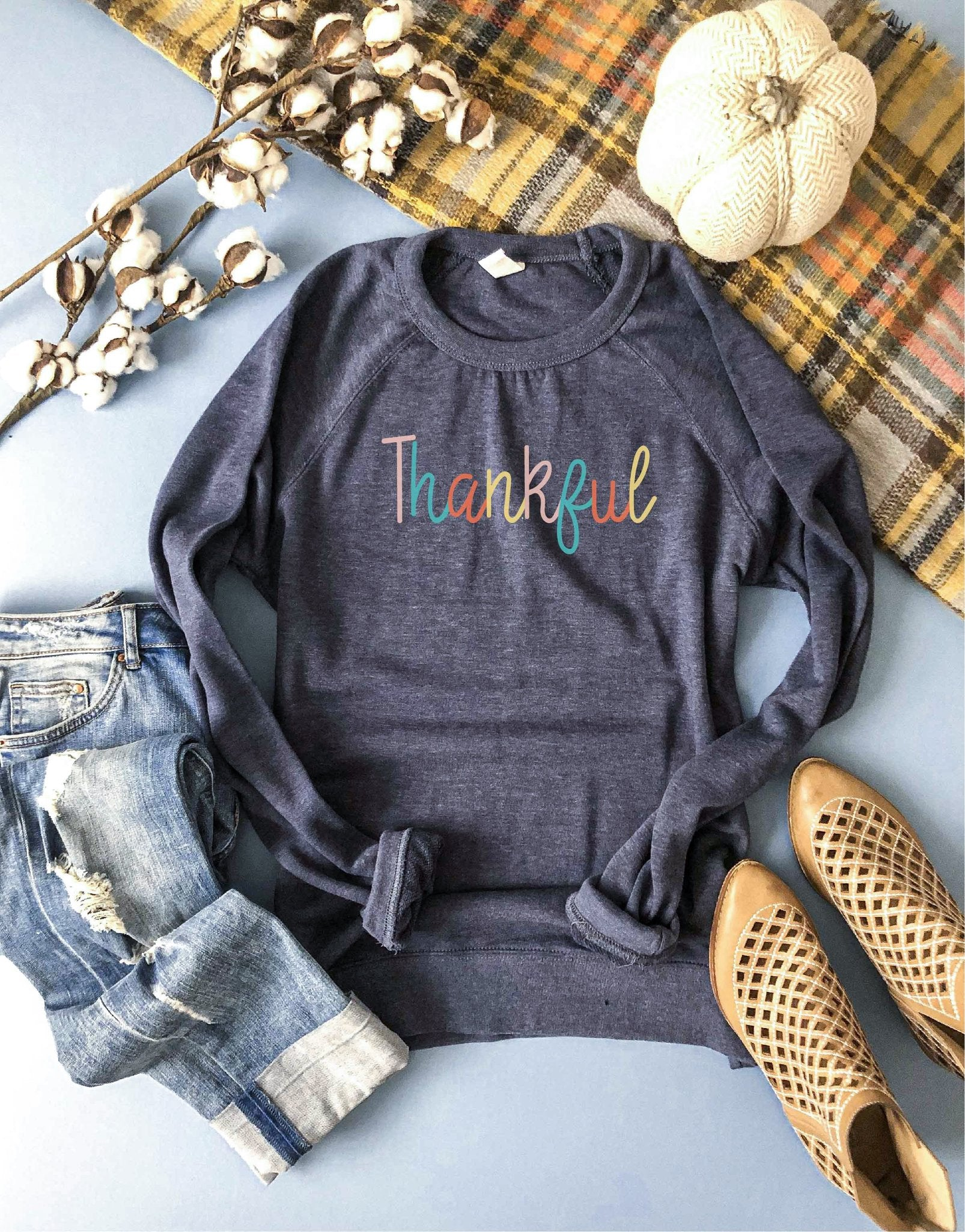 Luxe French Terry Raglan Graphic Sweatshirt - Thankful - Brooke & Kat Boutique